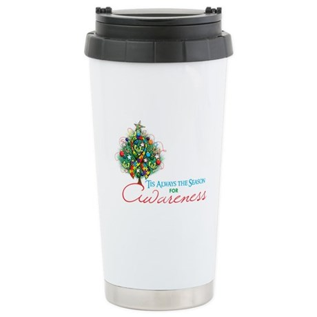 Puzzle Ribbon Xmas Tree Ceramic Travel Mug