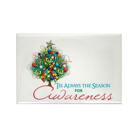 Puzzle Ribbon Xmas Tree Rectangle Magnet