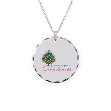 Puzzle Ribbon Xmas Tree Necklace Circle Charm