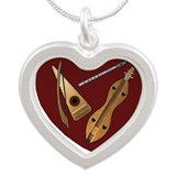 Cute Psaltery Silver Heart Necklace