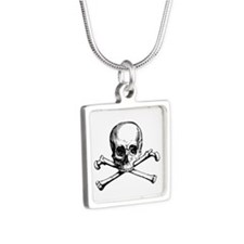 Skull and Crossbones Silver Square Necklace