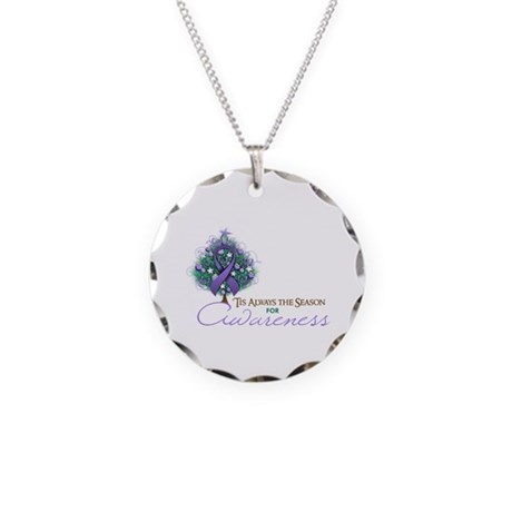 Violet Ribbon Xmas Tree Necklace Circle Charm