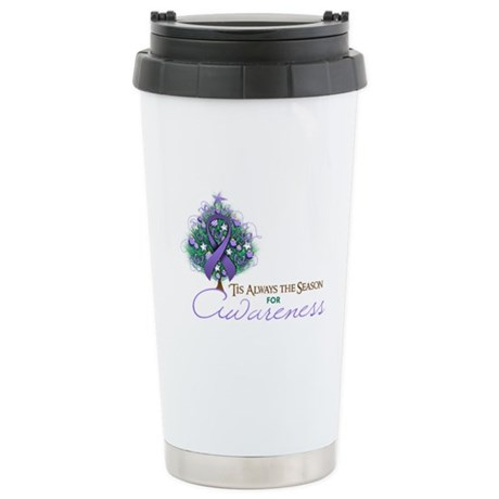 Violet Ribbon Xmas Tree Ceramic Travel Mug