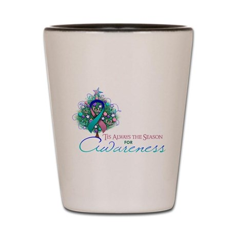 Thyroid Cancer Ribbon Xmas Tree Shot Glass
