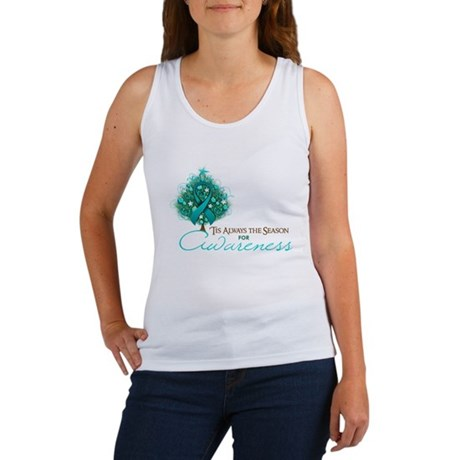 Teal Ribbon Xmas Tree Women's Tank Top