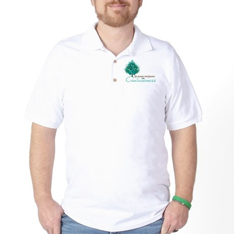 Teal Ribbon Xmas Tree Golf Shirt