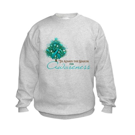 Teal Ribbon Xmas Tree Kids Sweatshirt