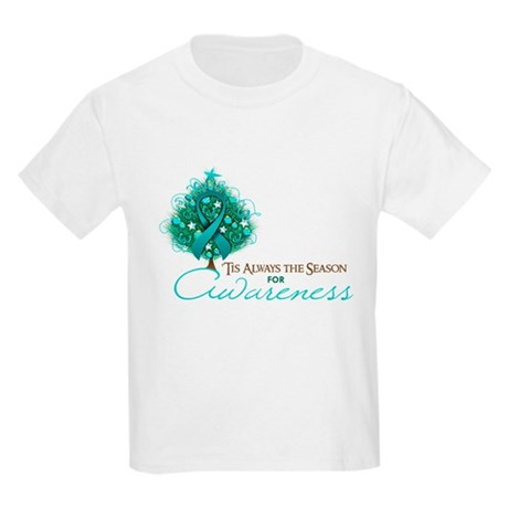 Teal Ribbon Xmas Tree Kids Light T-Shirt