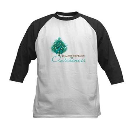 Teal Ribbon Xmas Tree Kids Baseball Jersey