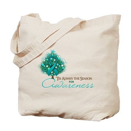 Teal Ribbon Xmas Tree Tote Bag