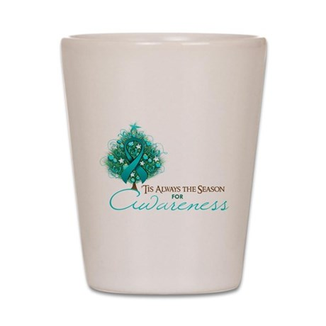 Teal Ribbon Xmas Tree Shot Glass