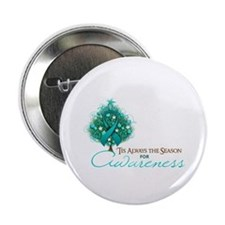 "Teal Ribbon Xmas Tree 2.25"" Button"