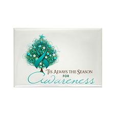 Teal Ribbon Xmas Tree Rectangle Magnet (100 pack)