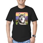 Malamute Meadow Men's Fitted T-Shirt (dark)