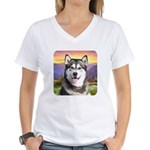 Malamute Meadow Women's V-Neck T-Shirt