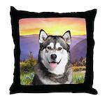Malamute Meadow Throw Pillow