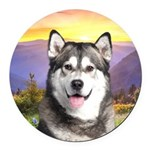 Malamute Meadow Round Car Magnet