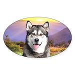 Malamute Meadow Sticker (Oval)