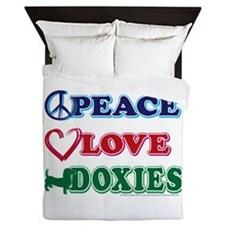Peace Love Doxies Queen Duvet
