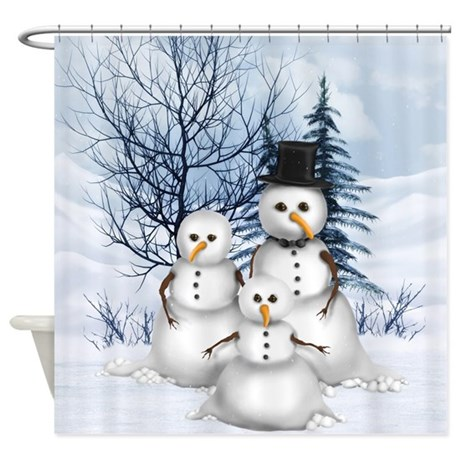 Snowman Family Shower Curtain By Gatterwe