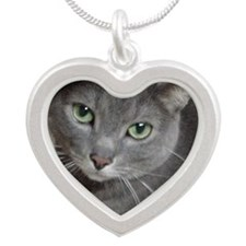 Gray Cat Silver Heart Necklace