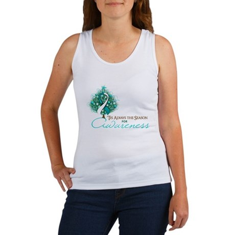 Cervical Cancer Xmas Ribbon Women's Tank Top