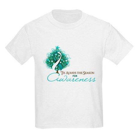 Cervical Cancer Xmas Ribbon Kids Light T-Shirt
