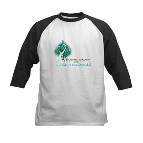 Cervical Cancer Xmas Ribbon Kids Baseball Jersey