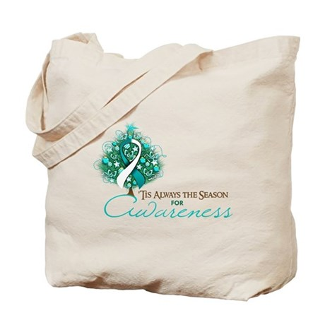 Cervical Cancer Xmas Ribbon Tote Bag