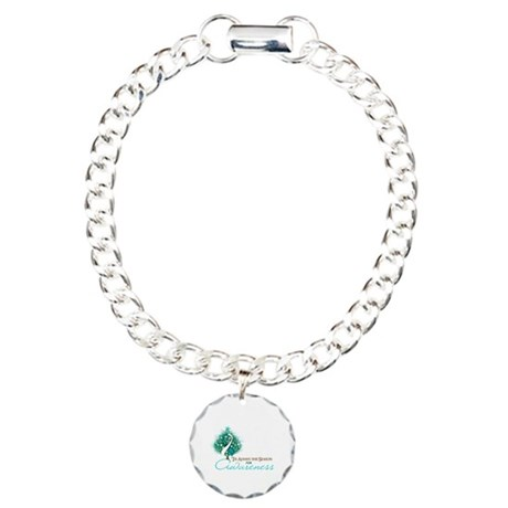 Cervical Cancer Xmas Ribbon Charm Bracelet, One Ch