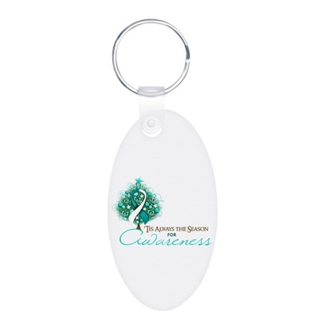 Cervical Cancer Xmas Ribbon Aluminum Oval Keychain