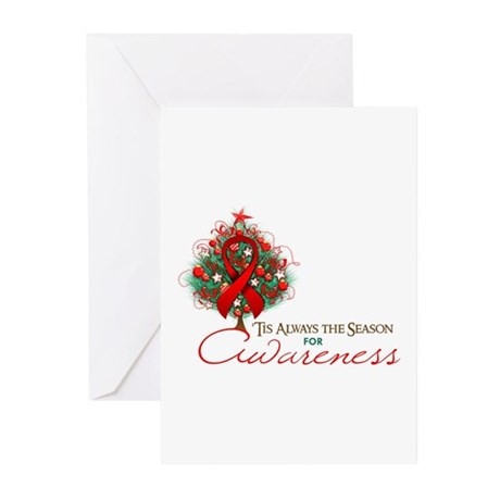 Red Ribbon Xmas Tree Greeting Cards (Pk of 20)