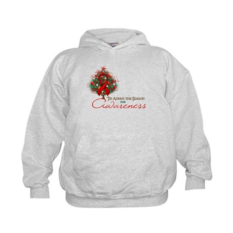 Red Ribbon Xmas Tree Kids Hoodie