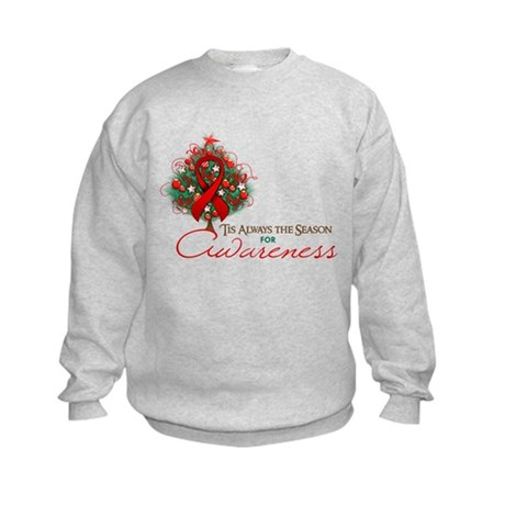 Red Ribbon Xmas Tree Kids Sweatshirt
