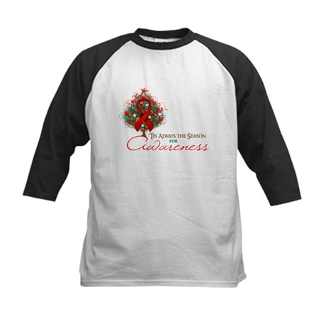 Red Ribbon Xmas Tree Kids Baseball Jersey