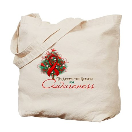 Red Ribbon Xmas Tree Tote Bag