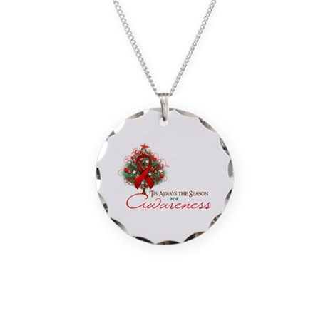 Red Ribbon Xmas Tree Necklace Circle Charm