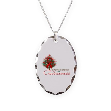 Red Ribbon Xmas Tree Necklace Oval Charm