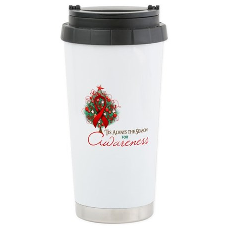 Red Ribbon Xmas Tree Ceramic Travel Mug