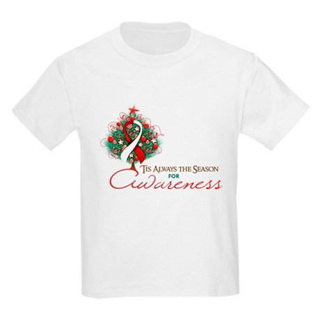 Red and White Ribbon Xmas Tree Kids Light T-Shirt