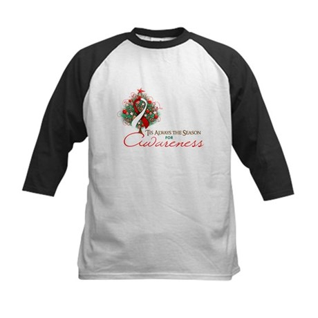 Red and White Ribbon Xmas Tree Kids Baseball Jerse