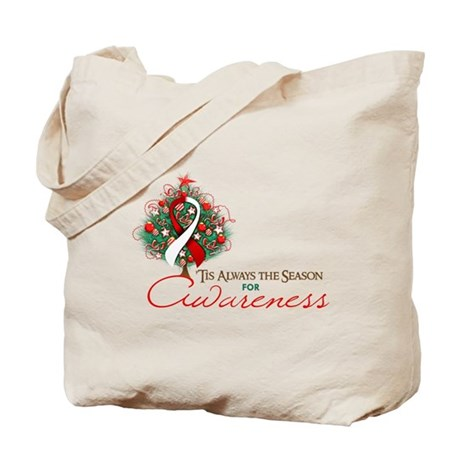 Red and White Ribbon Xmas Tree Tote Bag