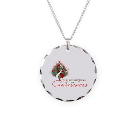 Red and White Ribbon Xmas Tree Necklace Circle Cha