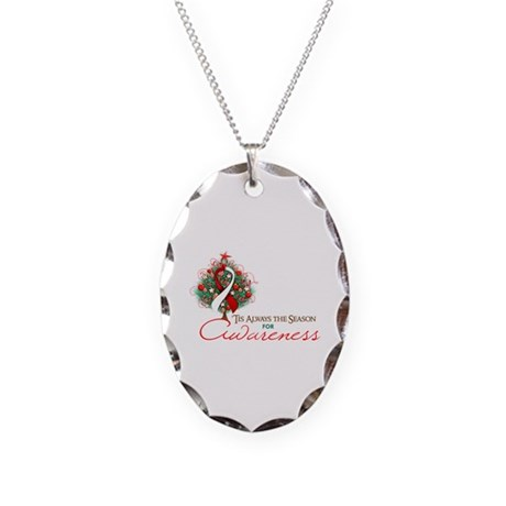 Red and White Ribbon Xmas Tree Necklace Oval Charm