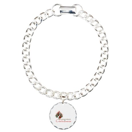 Red and White Ribbon Xmas Tree Charm Bracelet, One