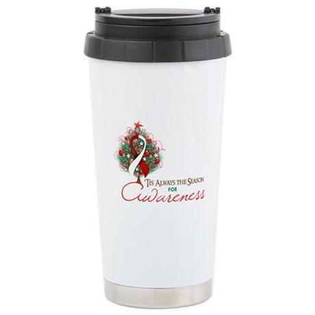 Red and White Ribbon Xmas Tree Ceramic Travel Mug