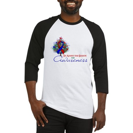 Red and Blue Ribbon Xmas Tree Baseball Jersey