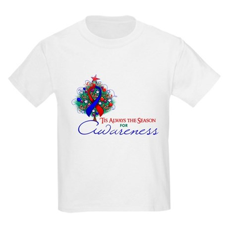 Red and Blue Ribbon Xmas Tree Kids Light T-Shirt