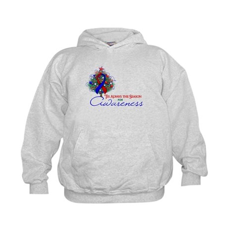 Red and Blue Ribbon Xmas Tree Kids Hoodie