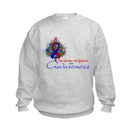Red and Blue Ribbon Xmas Tree Kids Sweatshirt